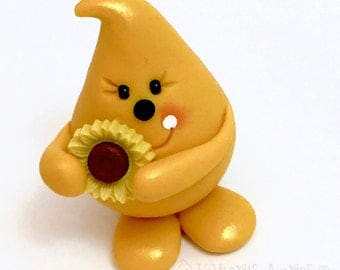 Parker with Sunflower Autumn Figurine - Polymer Clay Character