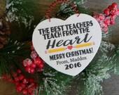 Teacher Christmas Ornament Teacher Ornament Rustic Christmas Ornament Personalized Teacher Ornament Wood Heart Ornament Gift For Teacher