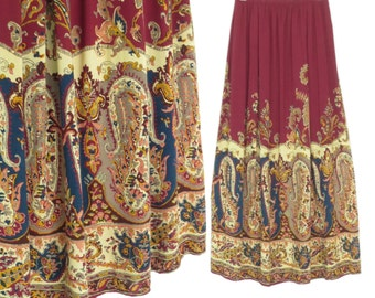 Vintage Rayon Skirt * 90s Maxi Skirt * Paisley Print Skirt * Medium