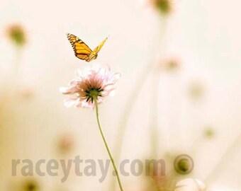 Butterfly Print, Girl Nursery Decor, Pastel Art, Pink, Beige, Nature Photography, Loss, Baby Nursery Art Print