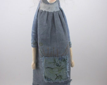 Folk Art Doll cloth and clay woman aunt birdie and her hat ooak sculpture