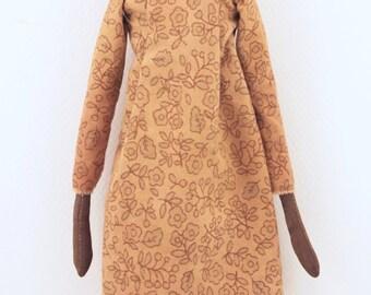 Folk Art doll sculpted cloth and clay glass eyes and teeth ooak sculpted Ledi