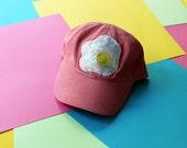 Handmade Fried Egg Applique Baseball Hat - Strapback Custom Colors