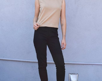 Vintage Wool 1990's Tan Minimalist Sleeveless Shell Cropped Turtleneck Sweater Top S/M