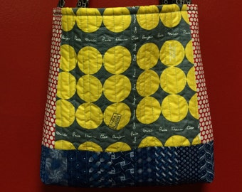 SUPER WOMAN was an ACCOUNTANT quilted  tote bag handmade Tanzania textile Shweshwe vintage fabric