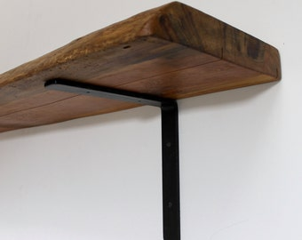 Live Edge Wood Slab Large Open Shelf TV Mantle