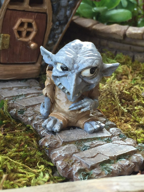 "Miniature Troll Figurine, ""Snert"",  Garden Decor, Fairy Garden Accessory, Enchanted Garden, Topper"