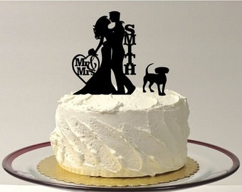 MADE In USA, Personalized Wedding Cake Topper with Dog, Silhouette Wedding Cake Topper, Bride + Groom + Dog Cake Topper Decoration,