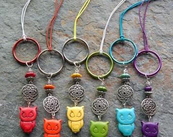 Owl key chain, colorful, stone, wise owl charm, zipper pull, cute car accessory, rear view mirror dangle ,purse charm, rainbow colored charm
