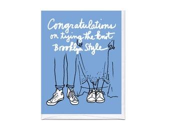 Brooklyn White Sneakers Wedding Card