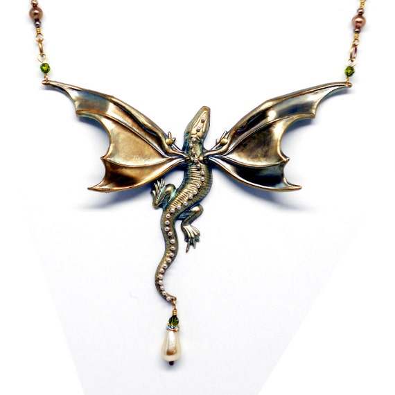 QUEEN DRAGON Necklace Green Gold Brass Fine Silver Spine Pearl Dangle Fantasy Art Nouveau Victorian Steampunk Game of Thrones Pern N0624