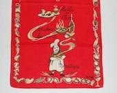 Vintage Red Kitchen Towel Chicken Caccitora