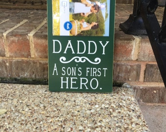 Son's First Hero ~Father's Day Gift For Dad ~Daddy And Son ~Dad A Son's First Hero Custom Wood Sign ~Gift From Son ~Gift For Dad~Wooden Sign