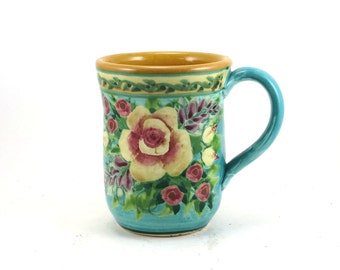 Unique turquoise ceramic coffee mug  - porcelain coffee cup with yellow interior and rose design