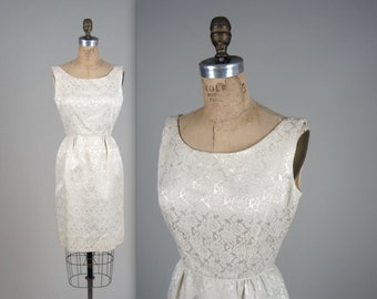 1950s ivory brocade dress • vintage 50s dress • evening wiggle dress