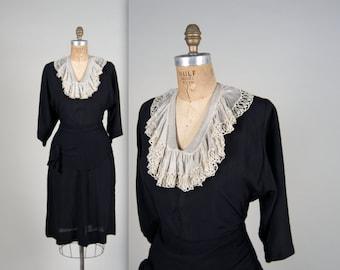 1930s silk crepe day dress • vintage 30s dress • lace collar dress