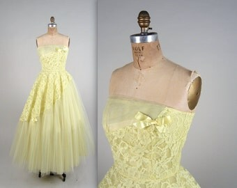 1950s strapless party dress • vintage 50s dress • tulle prom dress (SH)