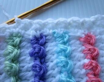 Easy Crochet Blanket Pattern, Textured Ribbons Blanket, Crochet Afghan Pattern, Christening Baby Blanket, Instructions to make it ANY size!
