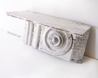 Rustic Chippy Shabby Wall Shelf. Ooak Wood Shelf.  Shabby Chic White Wall Decor. Architectural Shabby Decor