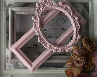 Painted Shabby Chic Frames. Victorian Romance. Rustic Shabby Cottage Chic. Rose Pink Green Ornate Frame Mix. Spring Pastels. set of 5