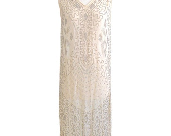 1920s Dress, 20s Flapper Dress, Art Deco Dress, 1920s Wedding Dress, Great Gatsby Dress, Beaded Ivory Silk Dress
