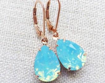 Seafoam Opal Rose Gold Earrings, Swarovski 14K Rose Gold Filled Leverbacks, Aqua Blue, Rhinestone Crystals, Bridesmaid Gifts, Bridal Jewelry