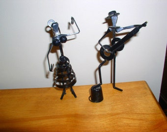 Vintage Nuts Bolts Metal Male Female Musician Dancer Spain Mid Century Figures Handmade