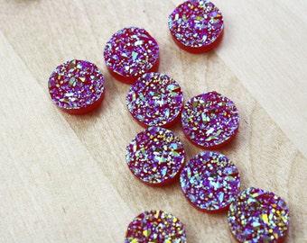 10 Druzy Drusy Round Cabochons Resin Quartz Imitation 12mm Red Sparkle Unicorn [CAB7279]