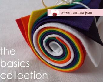 9x12 Wool Felt Sheets - The Basics Collection - 8 Sheets of Felt
