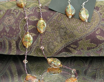 Sunset Shimmer Lampwork Dichro Necklace and Earring Set