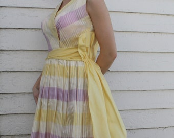 60s Dress Yellow White Striped Vintage 1960s Juniorscope Sleeveless XS