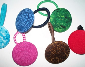 Colorful,Set of 3 Button Pony O's,Ponytail Holder,Fabric Covered Hair Tie,Christmas Red,Green,Brown,Blue and Pink,Your Choice