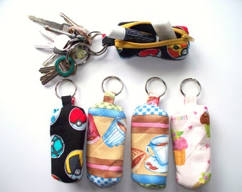 Decorative Cotton Zippered USB Stick Holder,Key Fob.Key Ring, Lipstick Chapstick Holder,Quilted,Earbud Case,SD Card Holder,Money Holder