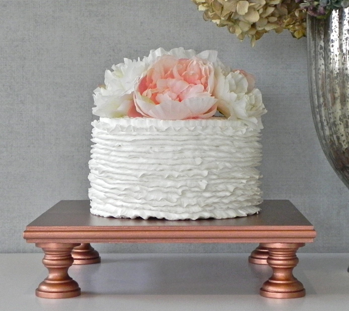 Rose Gold Cake Stand 14 Cupcake Square Vintage Gold Cake