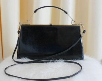 Vintage 60s Australian Made Genuine Leather Black Reptile Skin Look Stevens Sydney Box Bag Handbag Shoulder Bag
