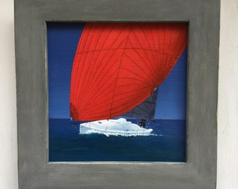 J/Boat J/88 Sailboat 6 x 6 Framed Original Painting by SBMathieu