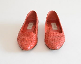 Vintage BALLY woven leather shoes / 8