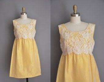 vintage 1960s dress / golden yellow lace dress / 60s dress