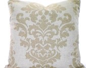 Tan Off White Decorative Throw Pillow Covers Cushion Tan Off White Damask Berlin Linen Look Couch Bed Tone on Tone Shabby Chic ALL SIZES