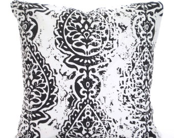Black White Damask Pillow Cover, Decorative Pillows, Cushion Covers, Manchester, Shabby Chic Euro Sham Decorative Pillows, One ALL SIZES
