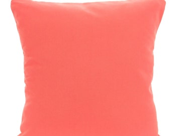 Solid Coral Pillow Covers, Decorative Throw Pillow, Cushion Covers, Solid Coral Euro Sham Couch Bed Sofa Pillows, One or More ALL SIZES