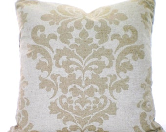 Tan Off White Decorative Throw Pillow Covers Cushion Tan Off White Damask Berlin Linen Look Tone on Tone Shabby Chic 12 x 16 or 12 x 18