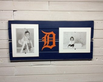 """Detroit Tigers old english D picture frame holds 2-5""""x7"""" photos decor"""