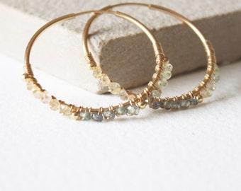 Sapphire and gold hoops, gold Hoop earrings, minimal dainty earrings, delicate earrings, gift for her,