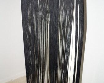 Vintage Black Fringe Belt with Rhinestones / 1930s 1940s Deco Fringed Dress Belt / Fringed Skirt Layering Piece