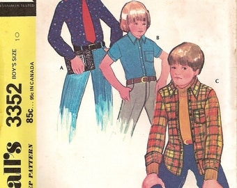 Vintage 70s Sewing Pattern -Boy's Long or Short Sleeve Shirt & Shirt Jacket McCall's 3352 Size 10 Uncut