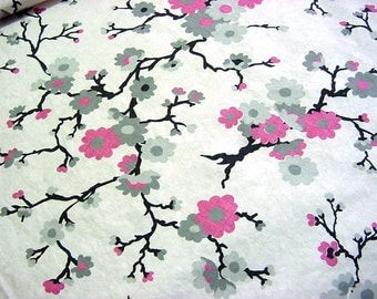 Vintage 30s 40s Cotton Fabric Reclaimed from Pink & Gray Floral Bias Skirt Daydress -Quilting Sewing