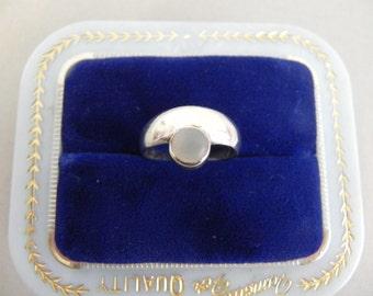 Vintage Sterling Ring Moon Drop Ring - on sale