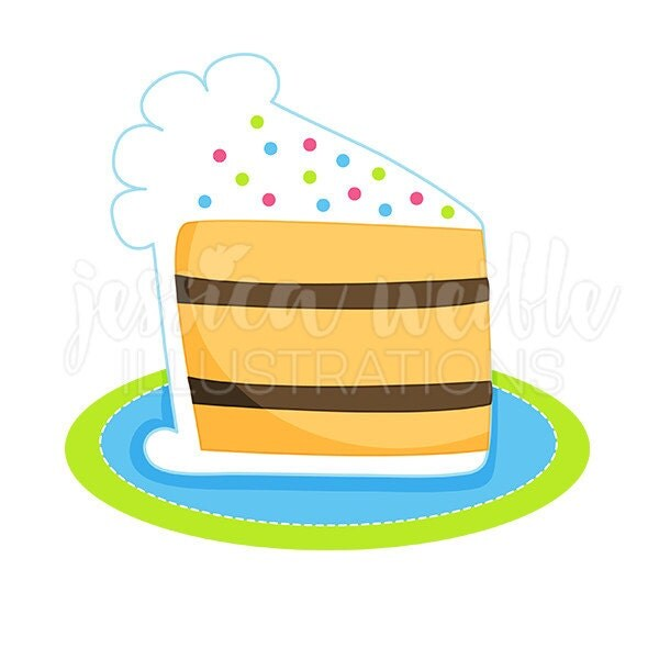 Cake Slice Cartoon Images : Slice of Birthday Cake Cute Digital Clipart Cake Clip art