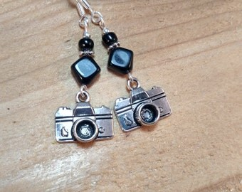 Black Camera Earrings, Black Camera Sterling Silver Earrings, Camera Sterling Silver Earrings, Silver Camera Earrings